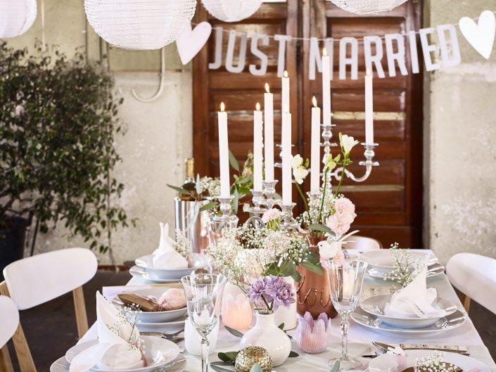 Just Married, Depot, Hochzeit, Tisch, Tischgedeck, Kerzen, Articus&Röttgen Fotografie, Articus, Röttgen